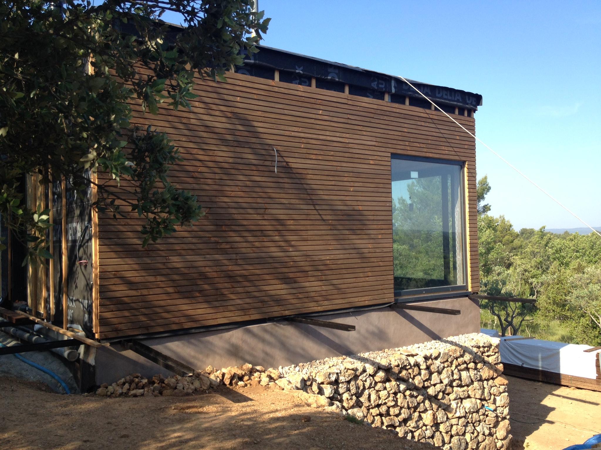 Bardage des murs maison bois c t sud for Extension maison 3 murs