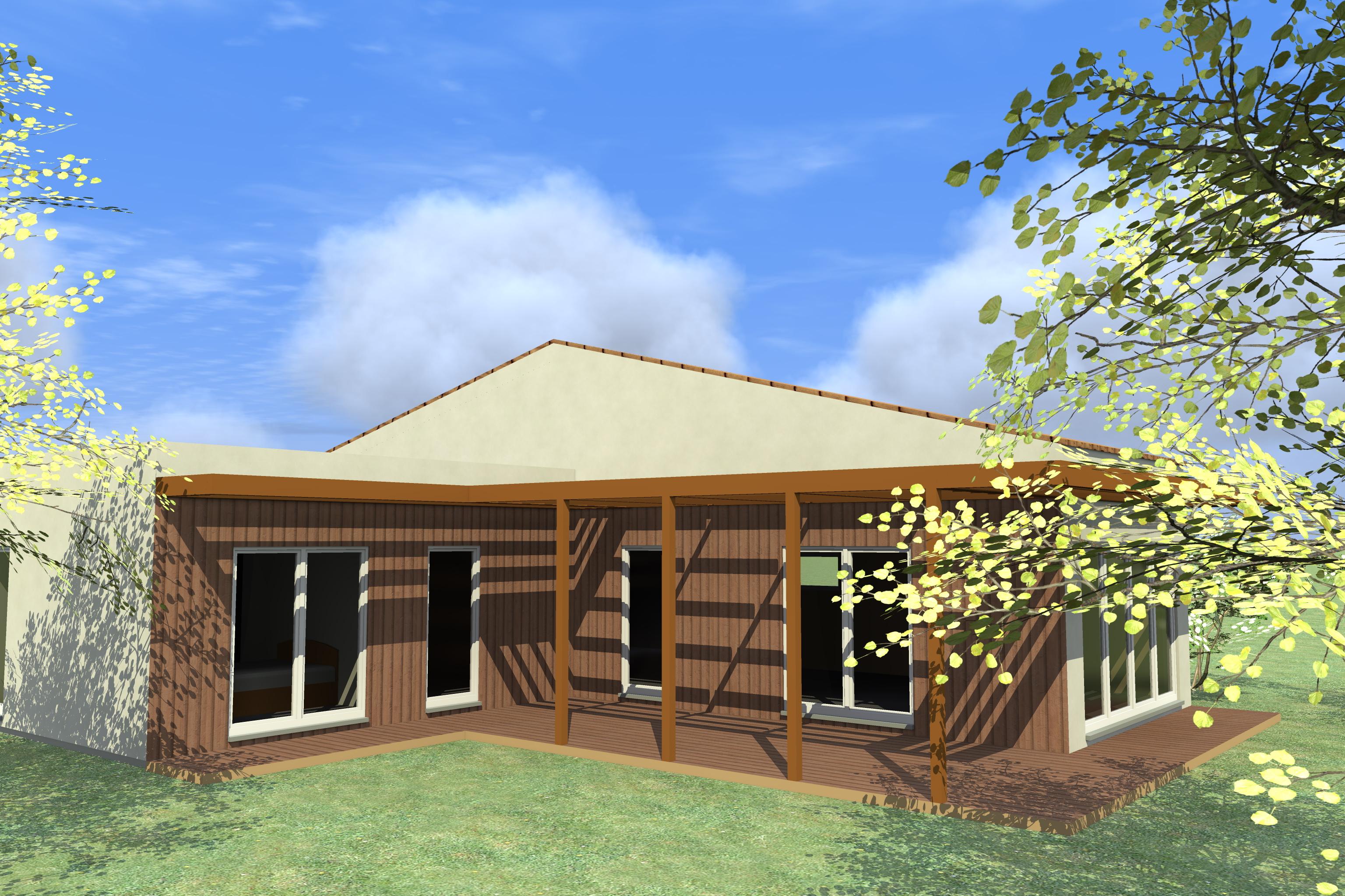 3d maison bois c t sud. Black Bedroom Furniture Sets. Home Design Ideas
