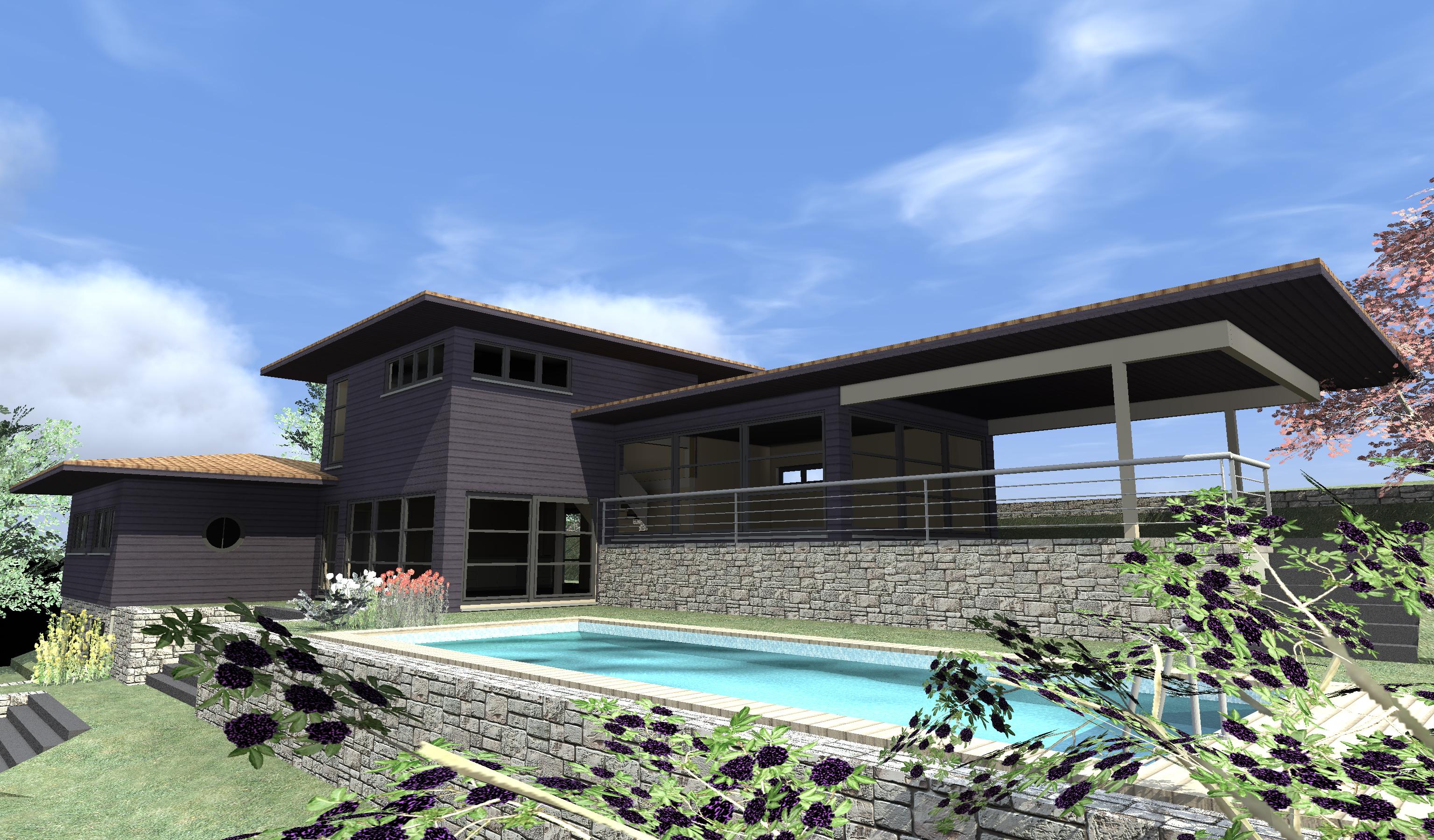 maison moderne maison bois c t sud. Black Bedroom Furniture Sets. Home Design Ideas