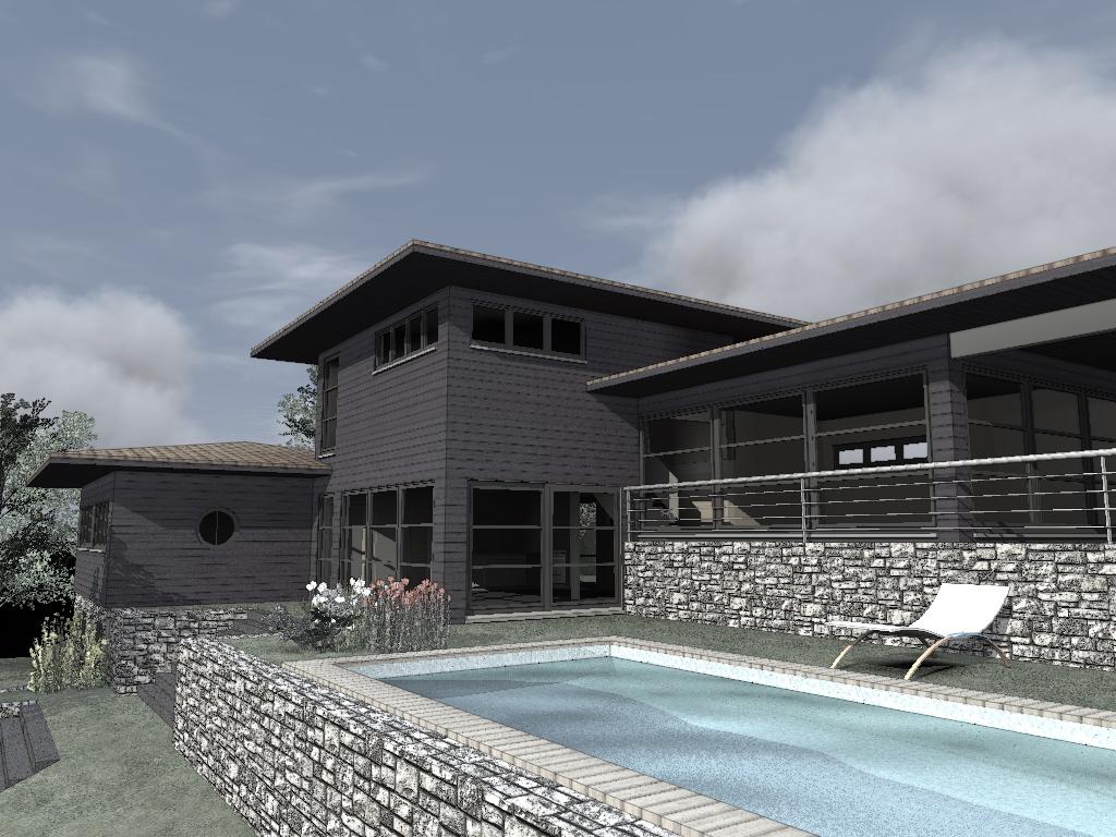 Maison moderne maison bois c t sud for Maison usinee cote