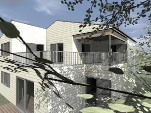 vue 3D maison bois massif
