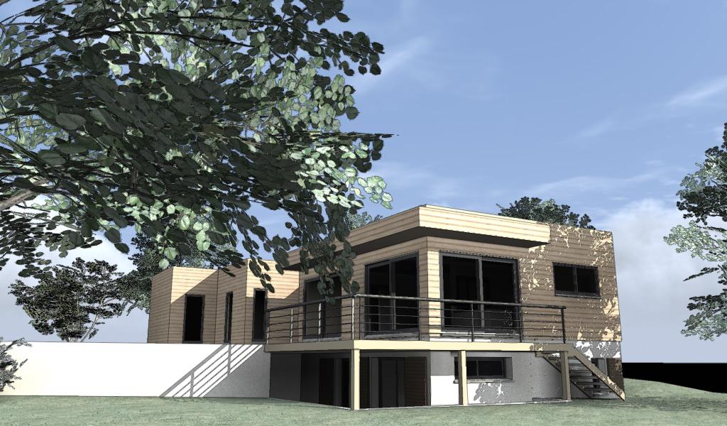 3D maison bois bardage bois Artlantis