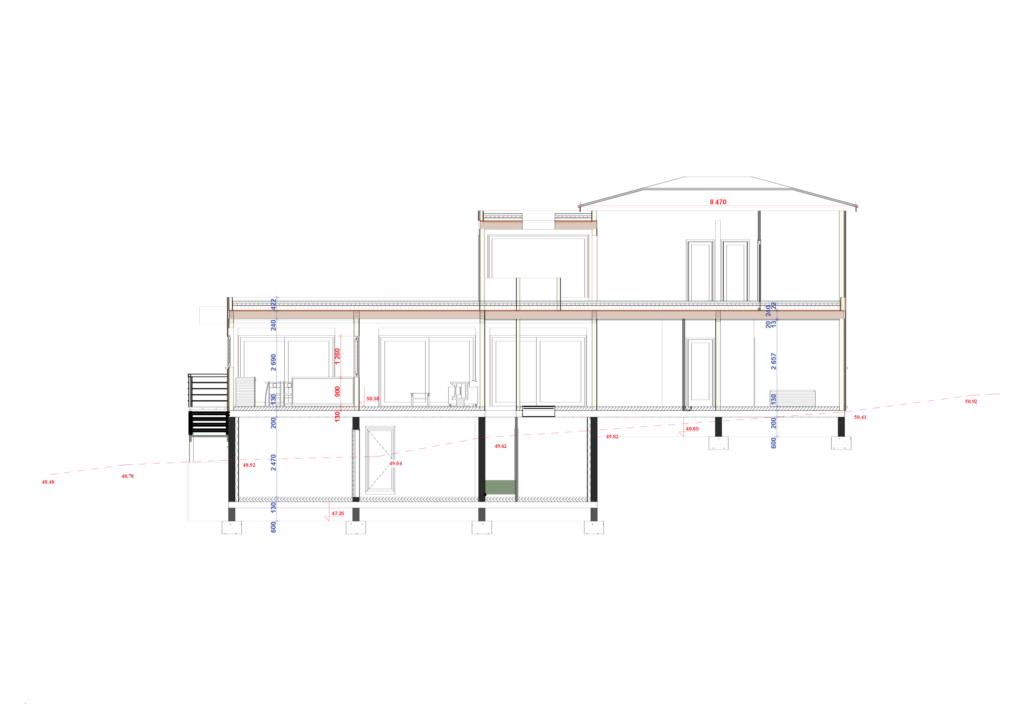 coupe avec étage maison en ossature bois