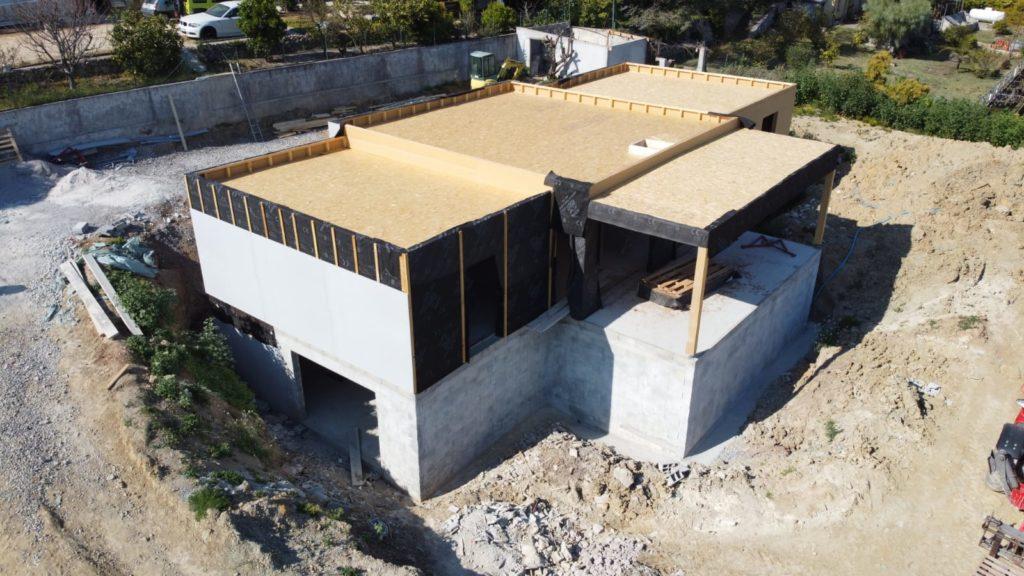 Mise en place du Fermacell PowerPanel d'une maison ossature bois à Antibes