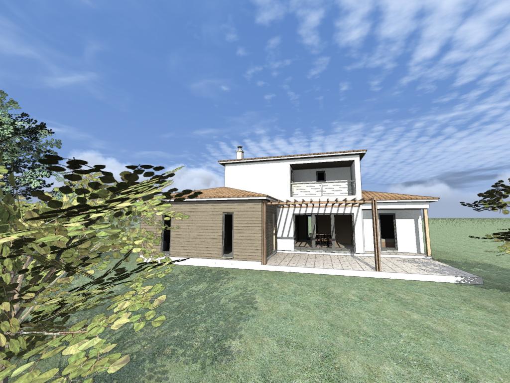 maison ossature bois mixte crépis bardage