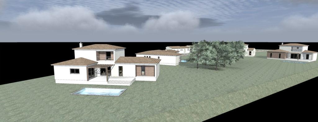 chantier de 5 maisons ossature bois à Frejus